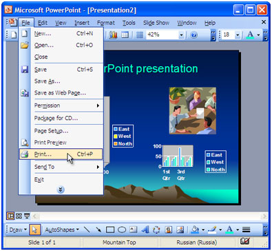 "Open the document in Microsoft PowerPoint and press ""File->Print..."" in application main menu."